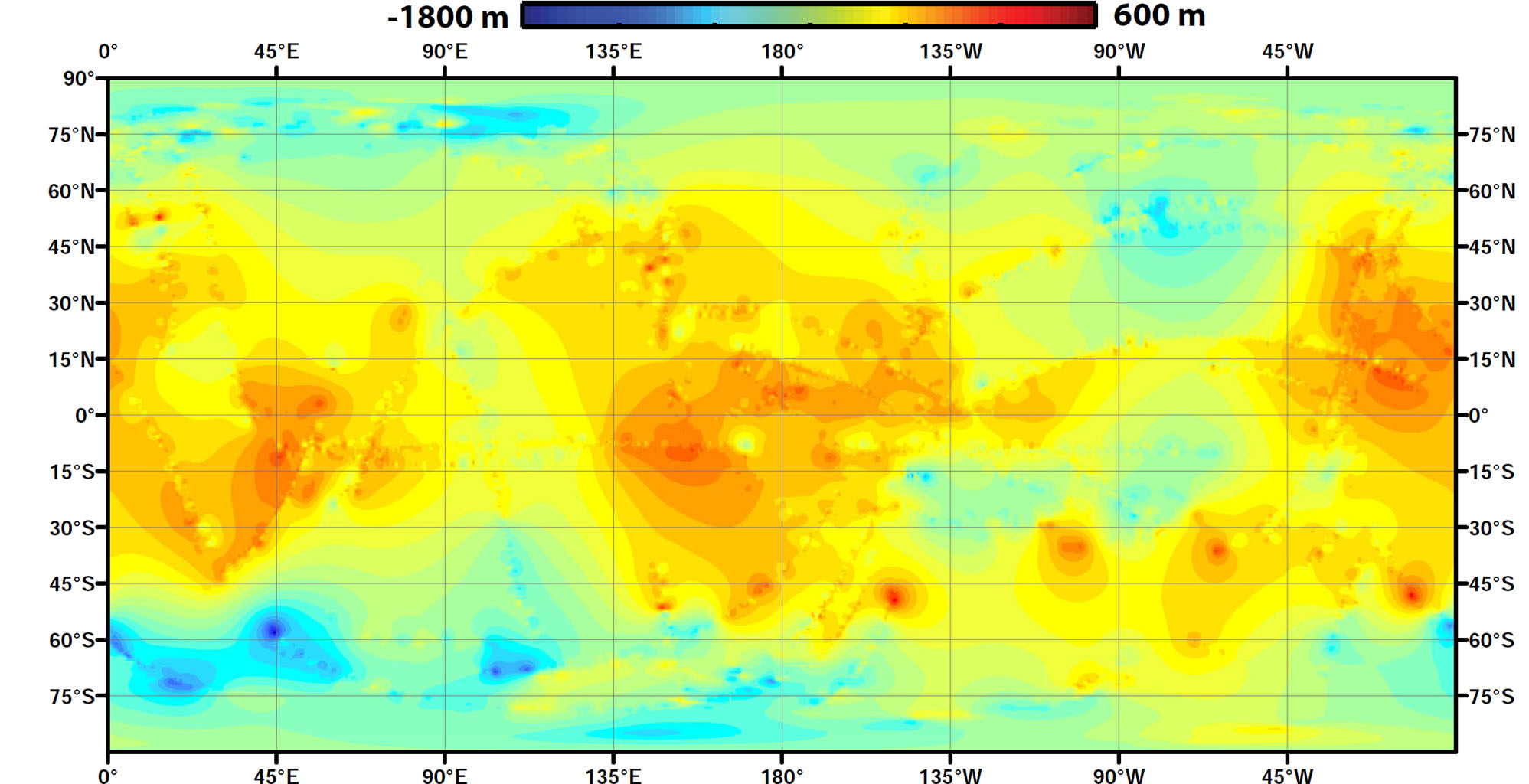 Space Images Global Topographic Map Of Titan - Global topographic map