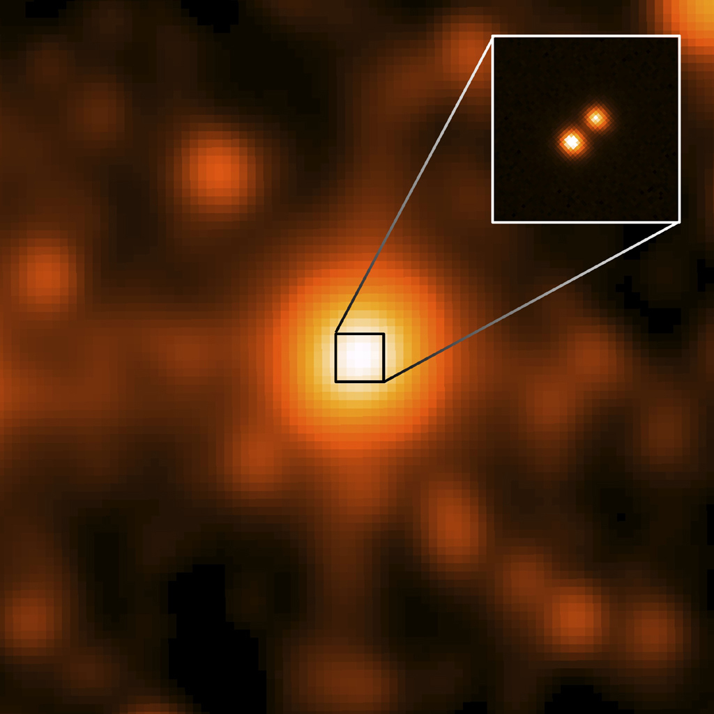 WISE J104915.57-531906, center of the larger image, was taken by the NASA's WISE. This is the closest star system discovered since 1916, and the third closest to our sun. It is 6.5 light-years away.