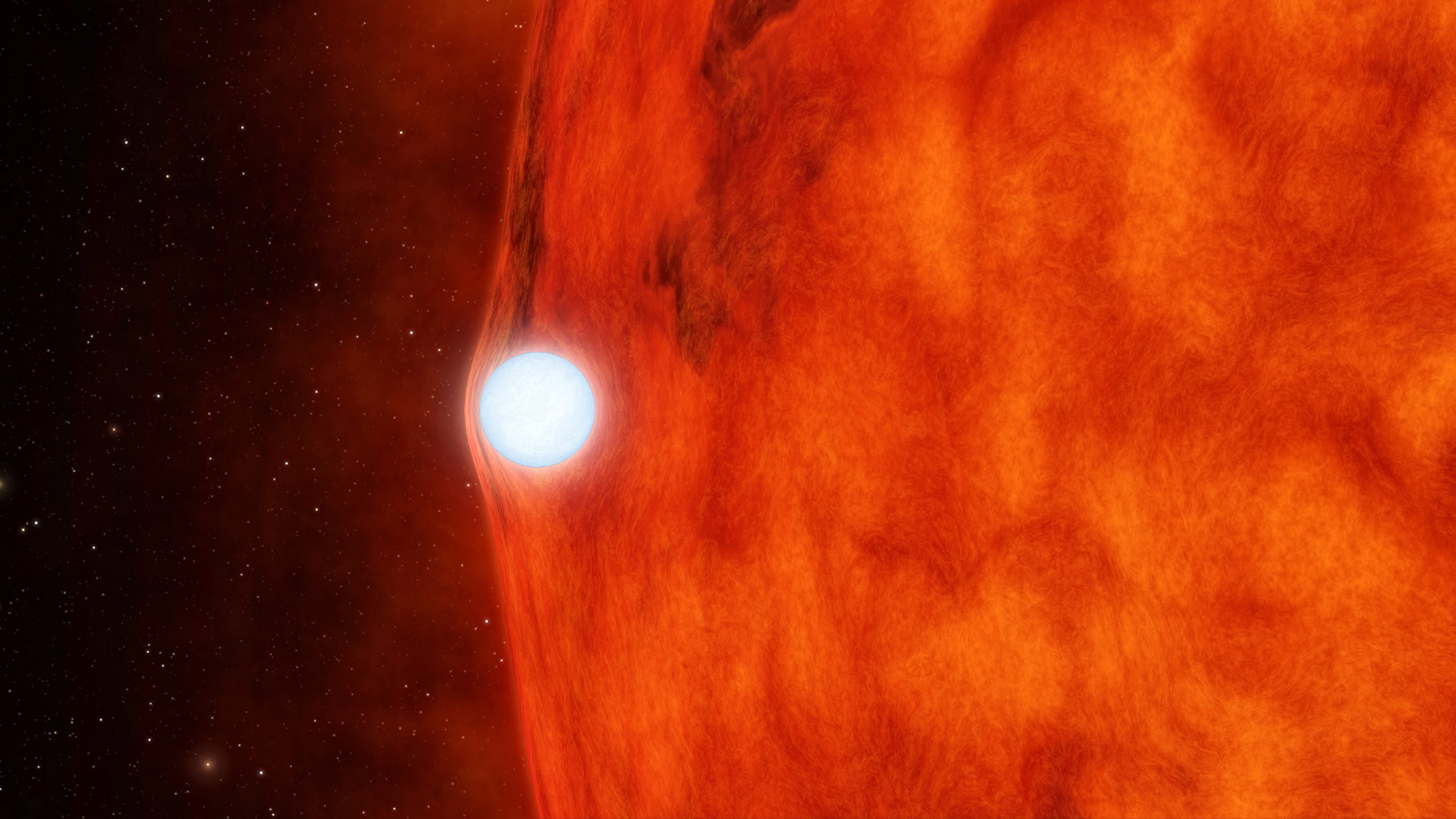 This artist's concept depicts an ultra-dense dead star, called a white dwarf, passing in front of a small red star. NASA's planet-hunting Kepler was able to detect gravitational lensing by measuring a strangely subtle dip in the star's brightness.