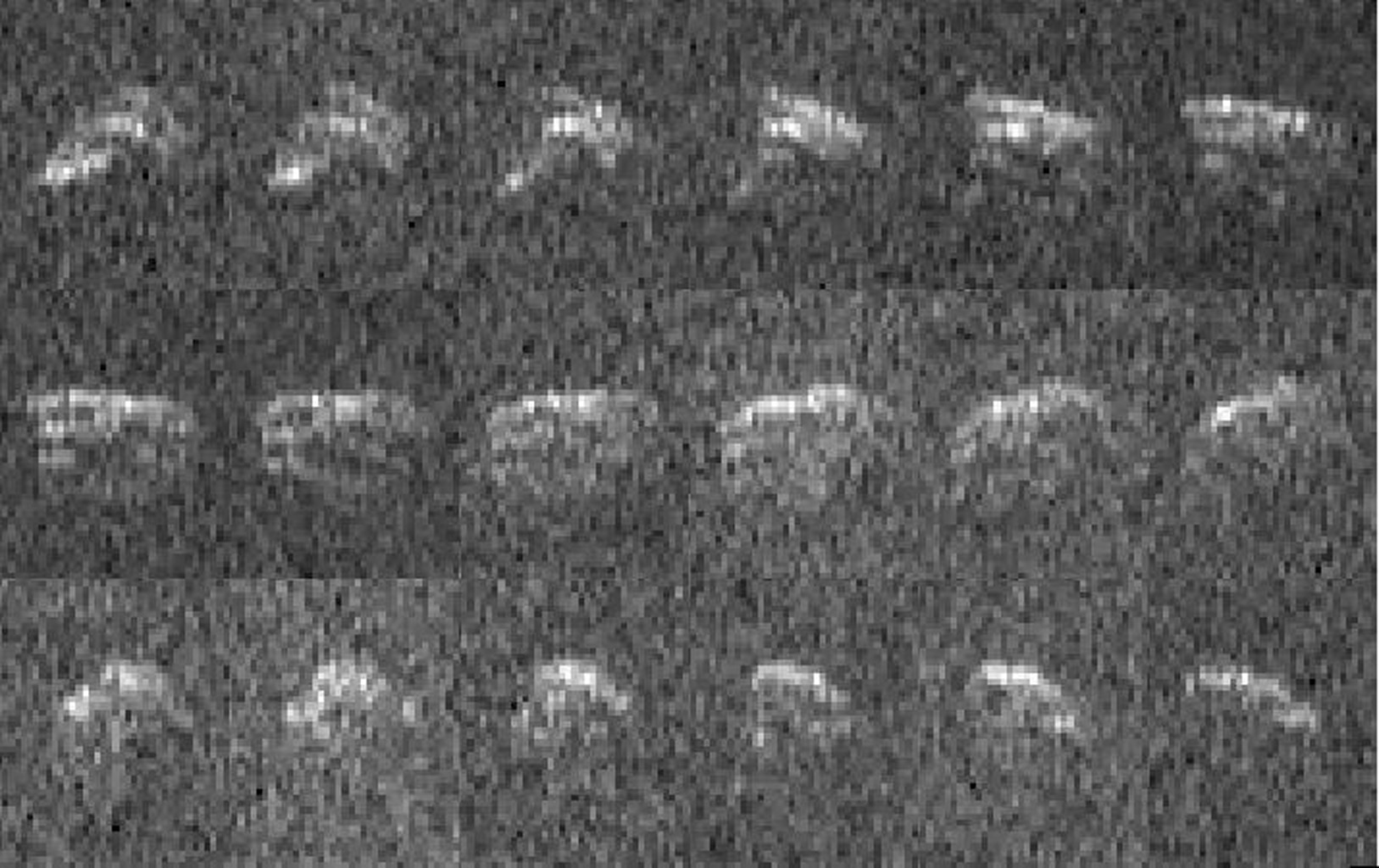 This sequence of radar images of asteroid 2013 ET was obtained on Mar. 10, 2013, by NASA scientists using the 230-foot (70-meter) DSN antenna at Goldstone, CA, when the asteroid was about 693,000 mi (1.1 million km) from Earth.