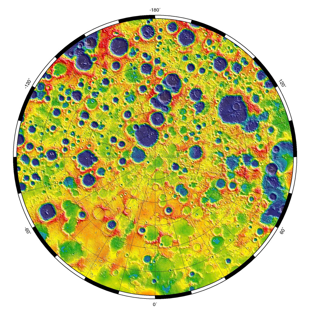 This is a polar stereographic map of gravity of the north polar region of the moon from the Gravity Recovery and Interior Laboratory (GRAIL) mission. The map displays the region from latitude 60 north to the pole.