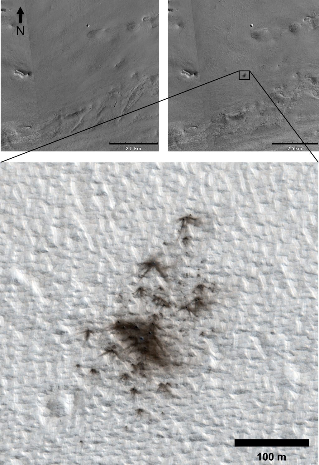 This set of images from cameras on NASA's Mars Reconnaissance Orbiter documents the appearance of a new cluster of impact craters on Mars. The orbiter has imaged at least 248 fresh craters, or crater clusters, on Mars.
