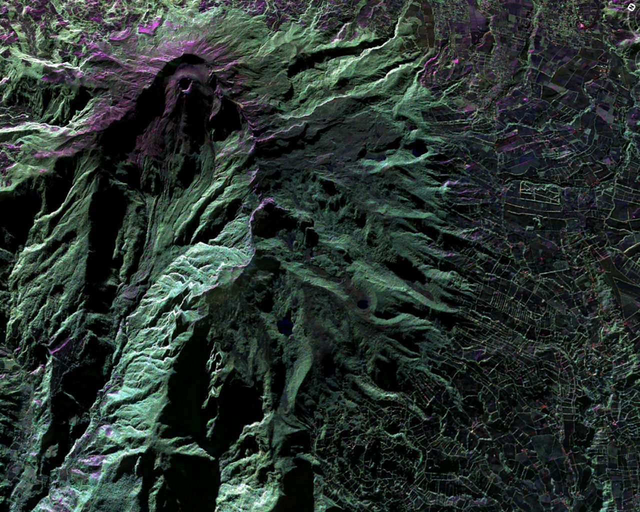 This false-color image of Colombia's Galeras Volcano, was acquired by UAVSAR on March 13, 2013. A highly active volcano, Galeras features a breached caldera and an active cone that produces numerous small to moderate explosive eruptions.