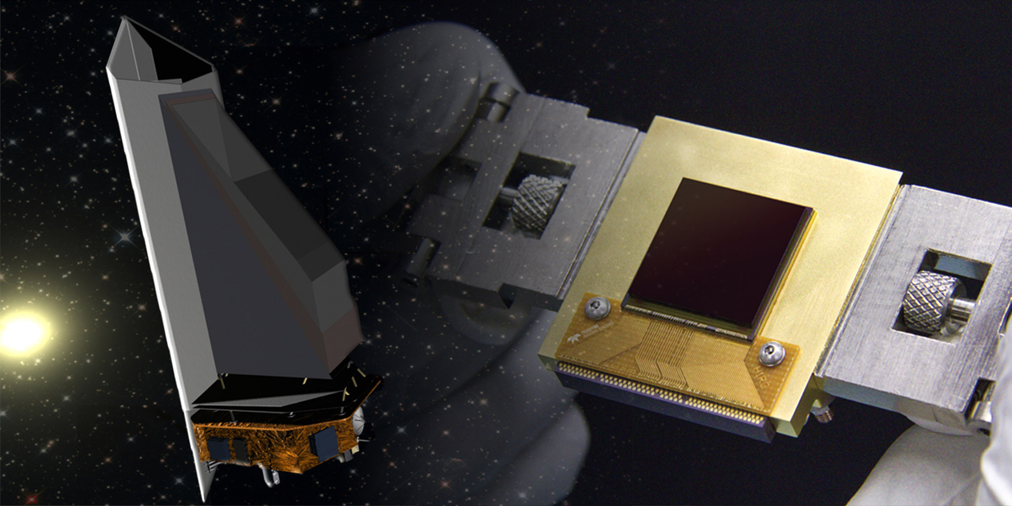 The NEOCam sensor (right) is the lynchpin for the proposed Near Earth Object Camera, or NEOCam, space mission (left).