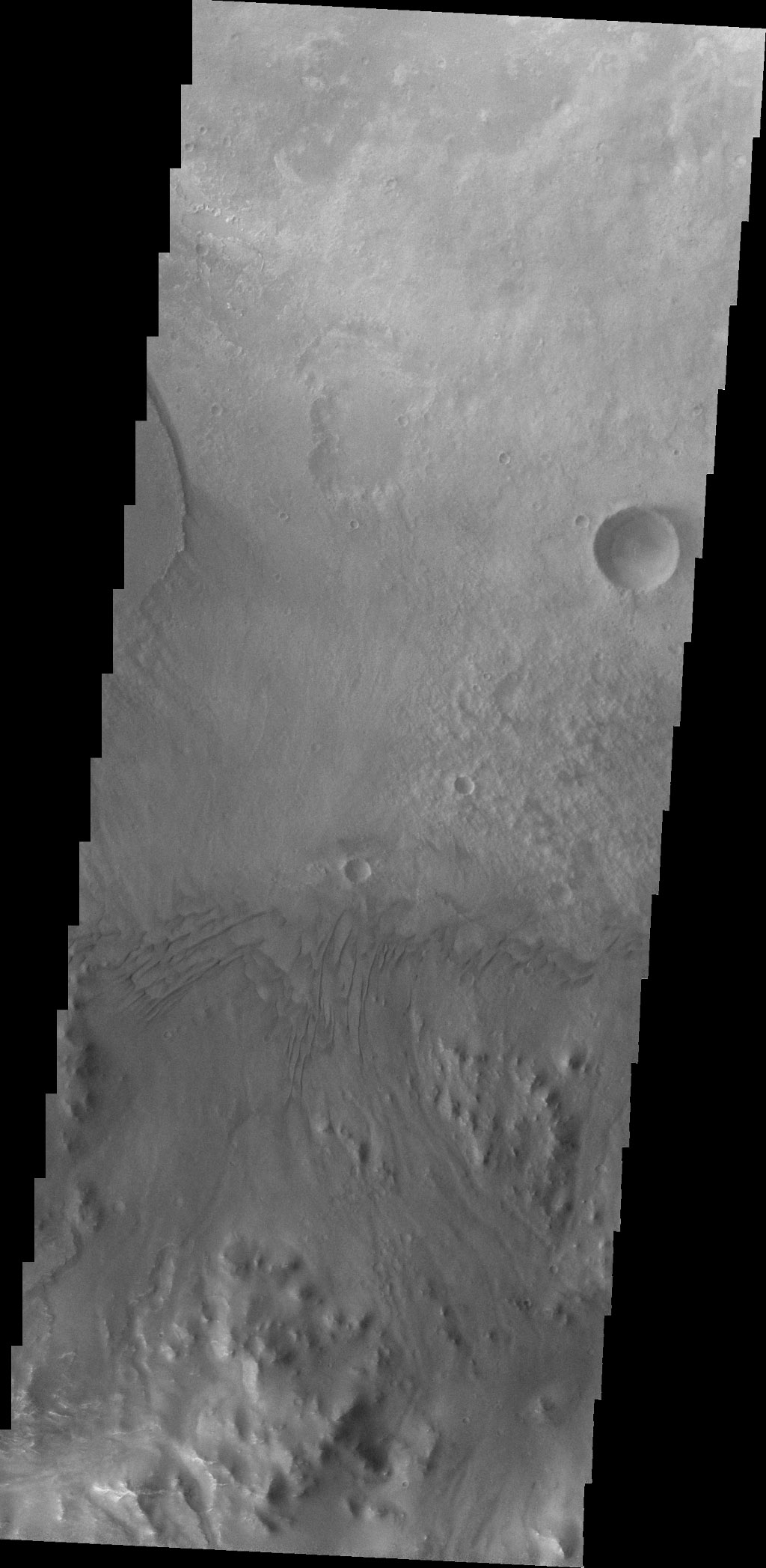 This image from NASA's Mars Odyssey spacecraft is just slightly south of yesterday's, and shows how close the dunes are to the crater rim.