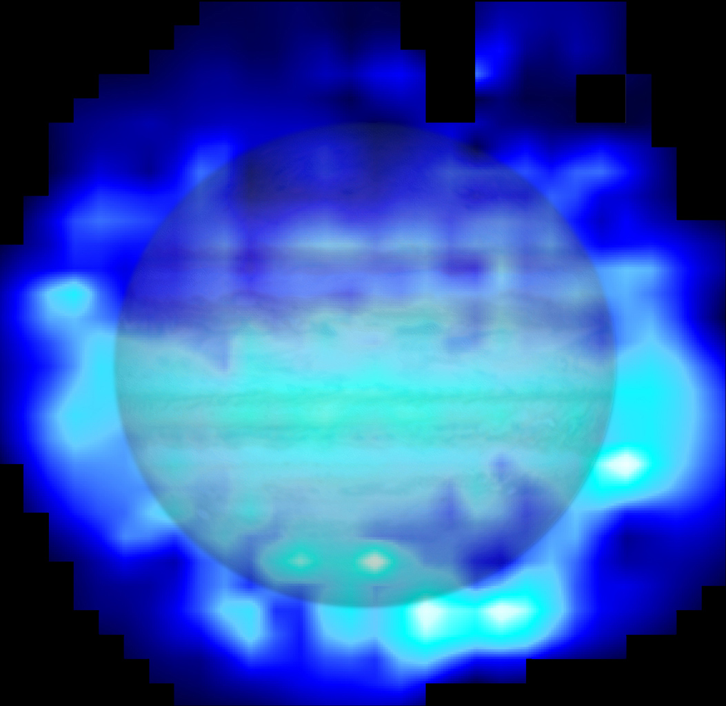 This map shows the distribution of water in the stratosphere of Jupiter as measured with the Herschel space observatory. White and cyan indicate highest concentration of water, and blue indicates lesser amounts.
