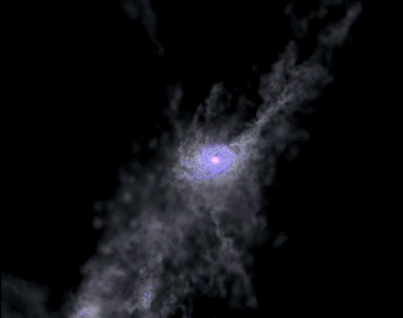 Created with the help of supercomputers, this frame from a simulation shows the formation of a massive galaxy during the first 2 billion years of the universe.
