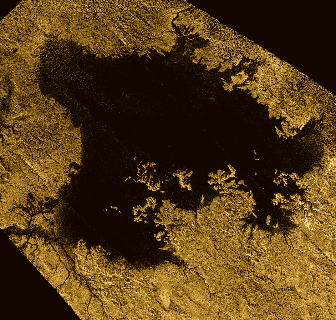 Ligeia Mare, shown here in a false color image from NASA's Cassini mission, is the second largest known body of liquid on Saturn's moon Titan. It is filled with liquid hydrocarbons, such as ethane and methane.