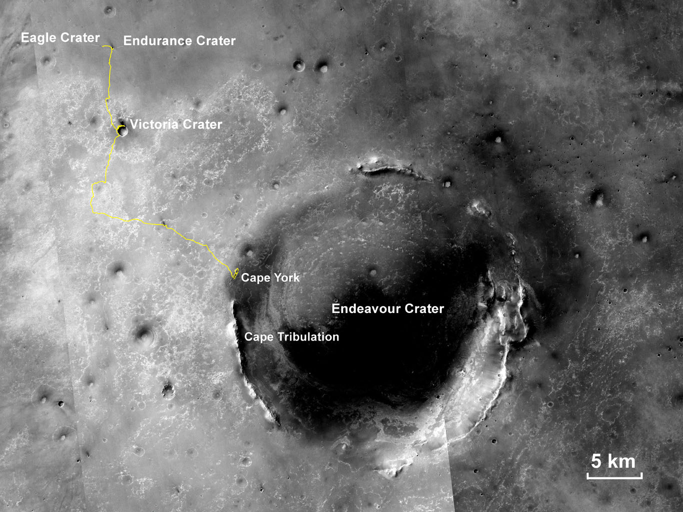 This map shows the route driven by NASA's Opportunity rover from the site of its landing, inside Eagle crater, to its location more than 112 months later, in late May 2013, departing the 'Cape York' section of the rim of Endeavour crater.