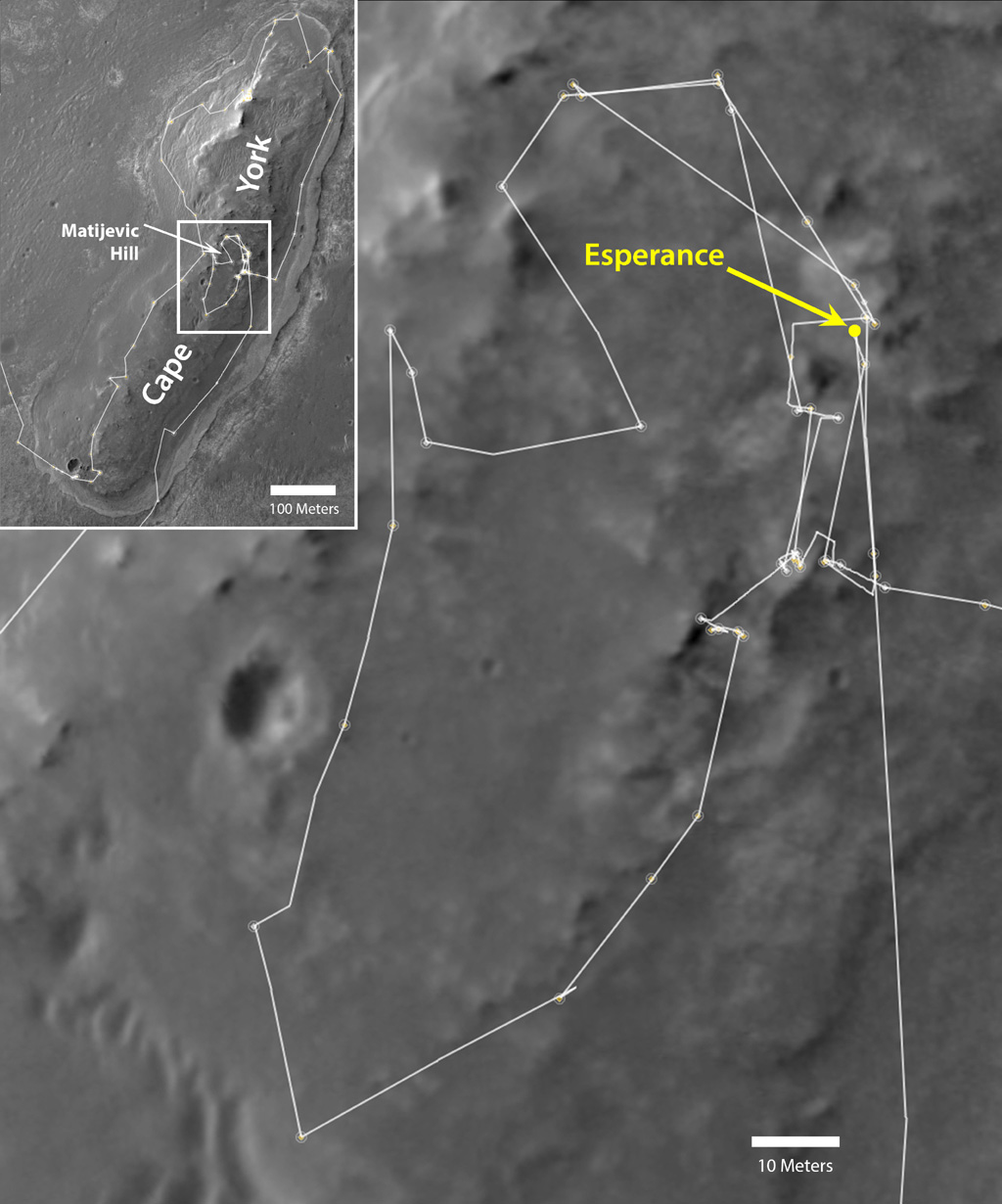 NASA's Mars Exploration Rover Opportunity drove onto the 'Cape York' segment of the rim of Endeavour Crater in August 2011 and departed Cape York in May 2013. The location of a rock target called 'Esperance' is indicated in the main map.