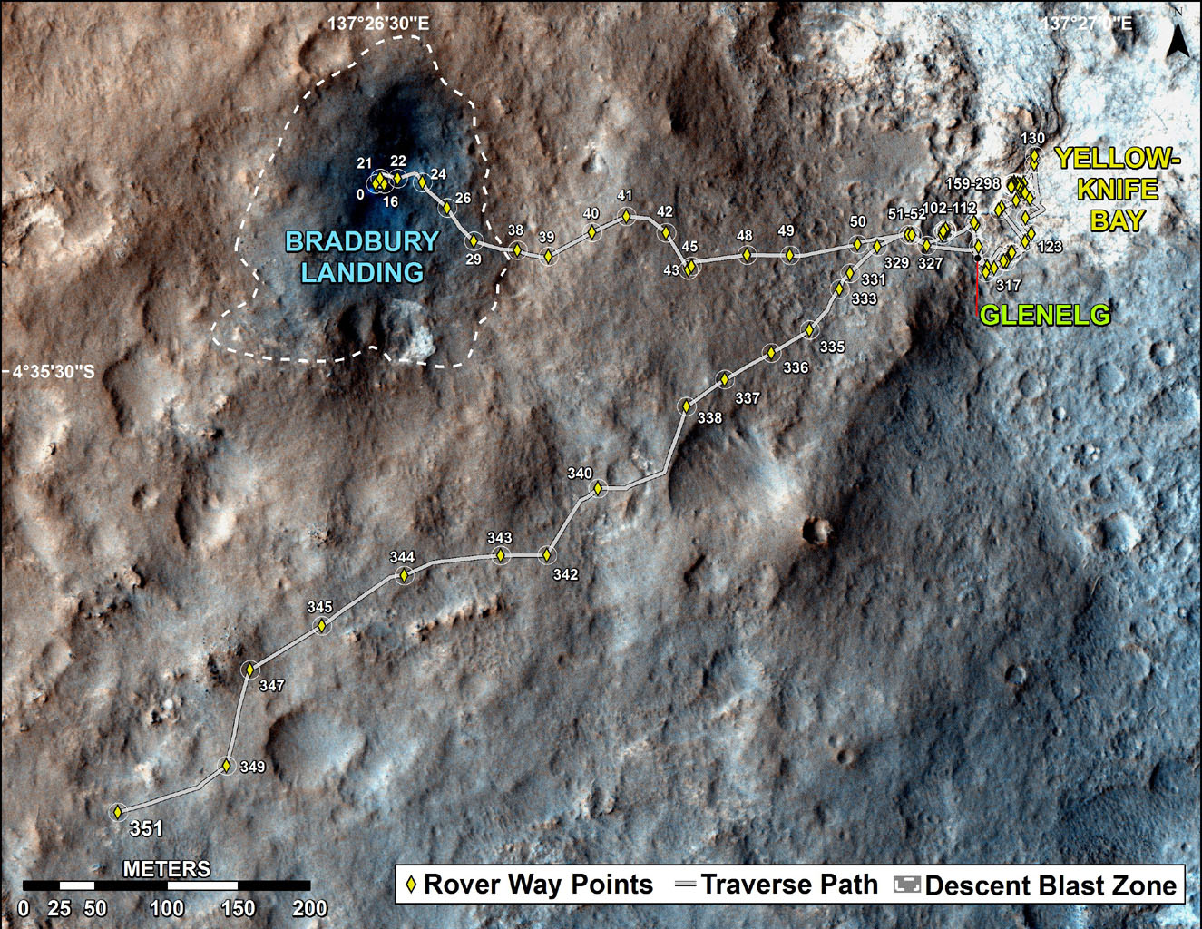 The total distance driven by NASA's Mars rover Curiosity passed the one-mile mark a few days before the first anniversary of the rover's landing on Mars. The mapped area is within Gale Crater, and north of Mount Sharp, in the middle of the crater.