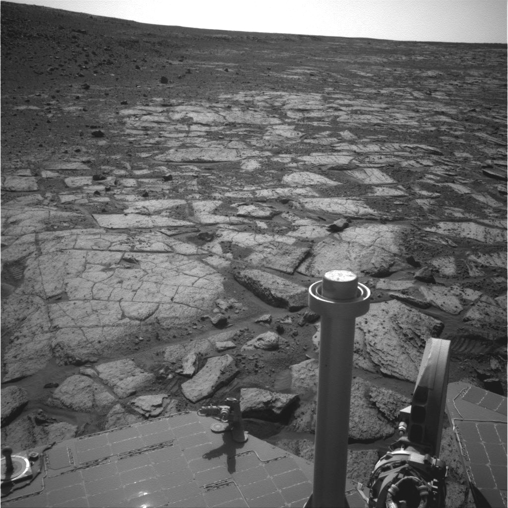 NASA's Mars Exploration Rover Opportunity used its navigation camera (Navcam) to record this image of the northern end of 'Solander Point,' a raised section of the western rim of Endeavour Crater.