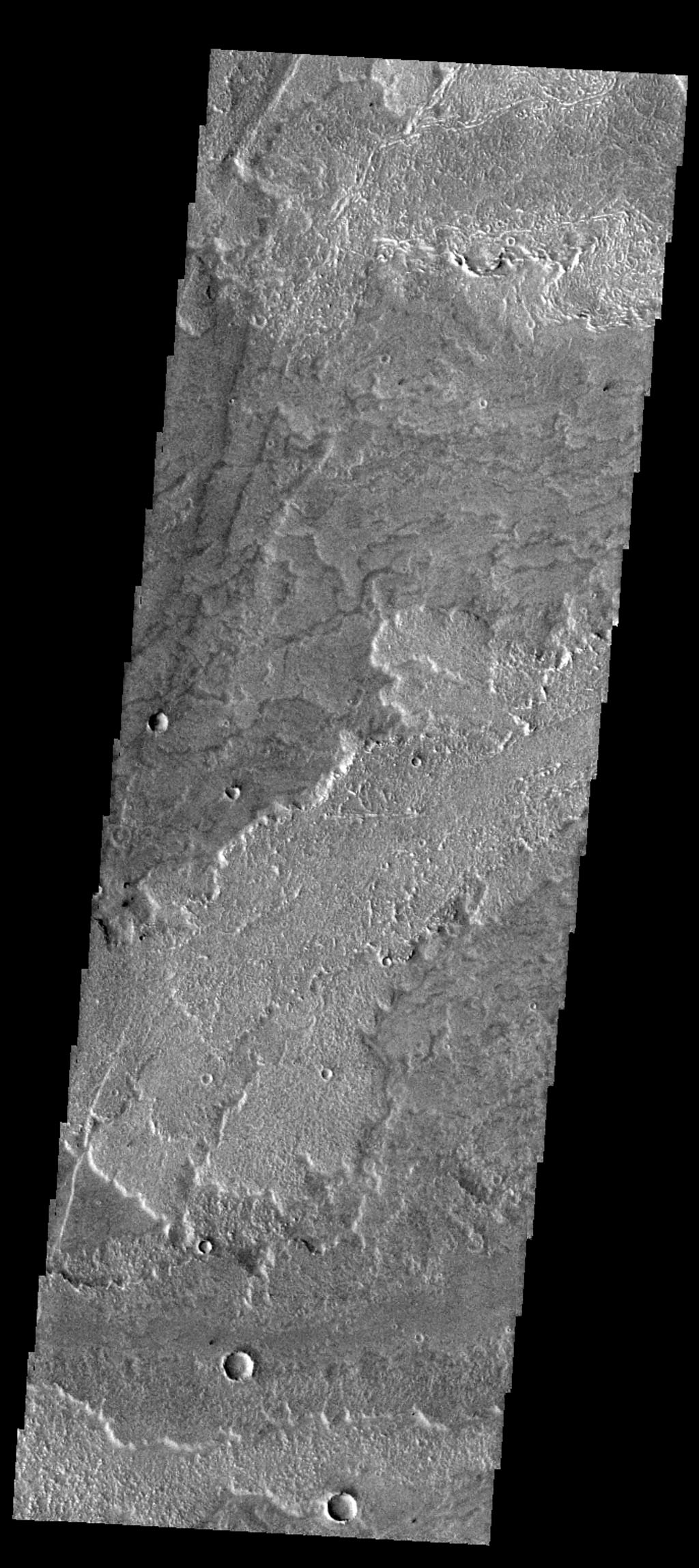 This image from NASA's Mars Odyssey spacecraft shows lava flows from Arsia Mons on Mars.