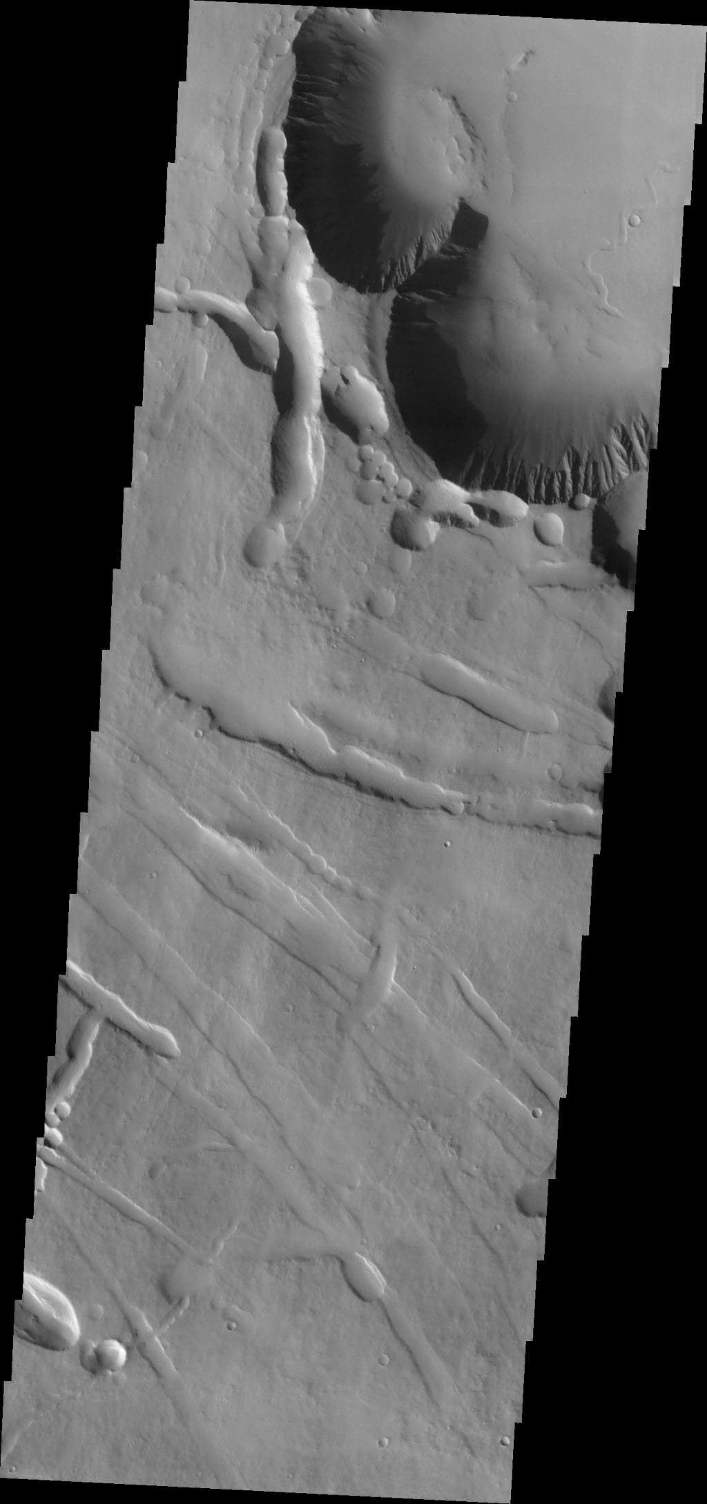 This image from NASA's Mars Odyssey spacecraft shows the beginning of Pavonis Chasma (top of frame) on the northern flank of Pavonis Mons.