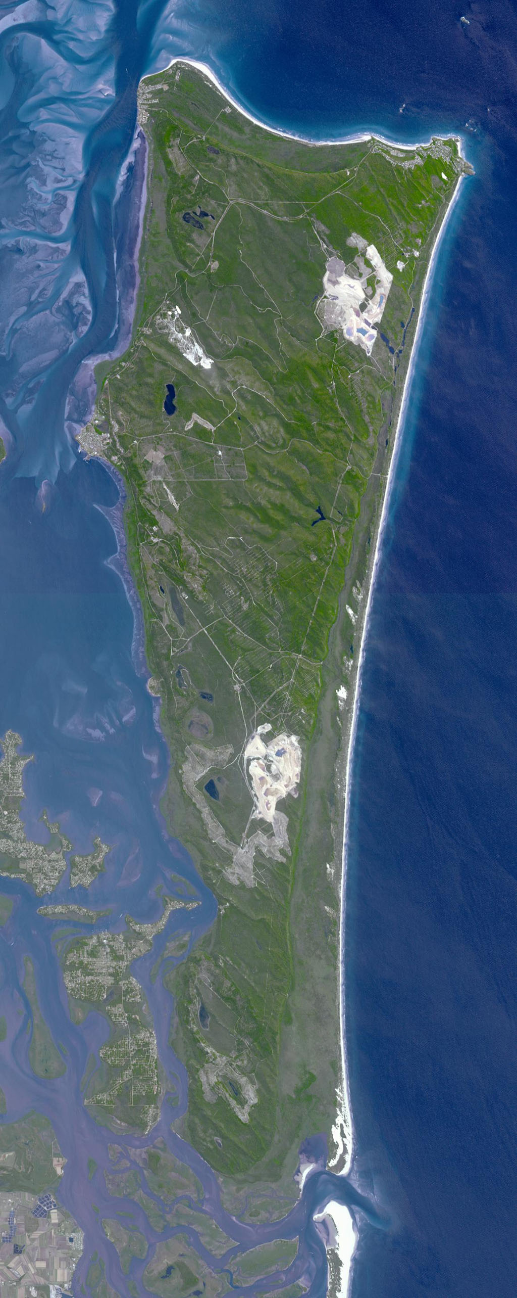 This image from NASA's Terra spacecraft shows North Stradbroke Island, 30 km southeast of Brisbane, Australia, one of the largest sand islands in the world.
