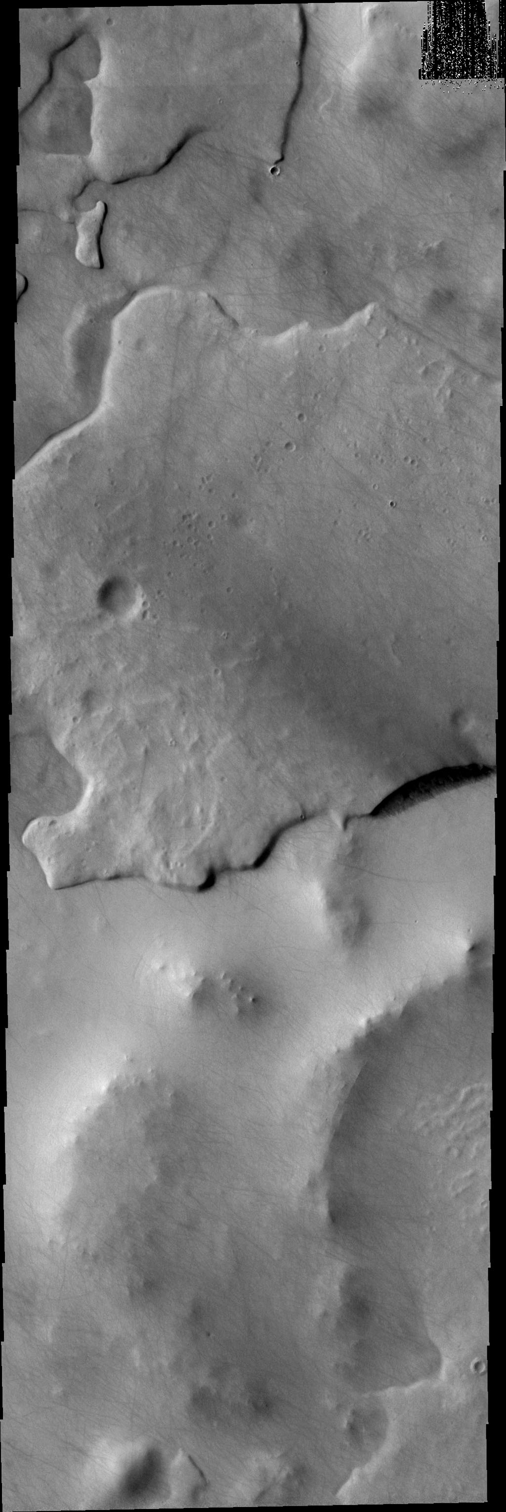This image from NASA's Mars Odyssey spacecraft shows martian terrain that looks like a giant fish with open mouth.