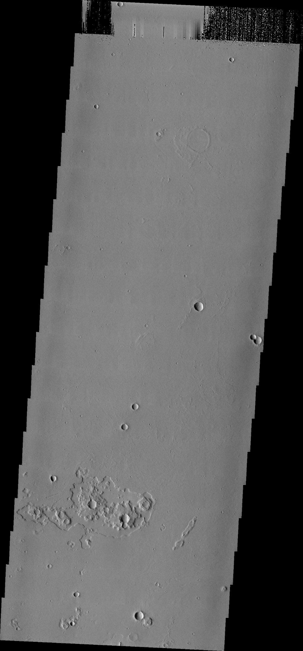 Do you see what I see in this image from NASA's Mars Odyssey spacecraft? The ejecta surrounding the small craters near the bottom of this image look like interlocking gears.