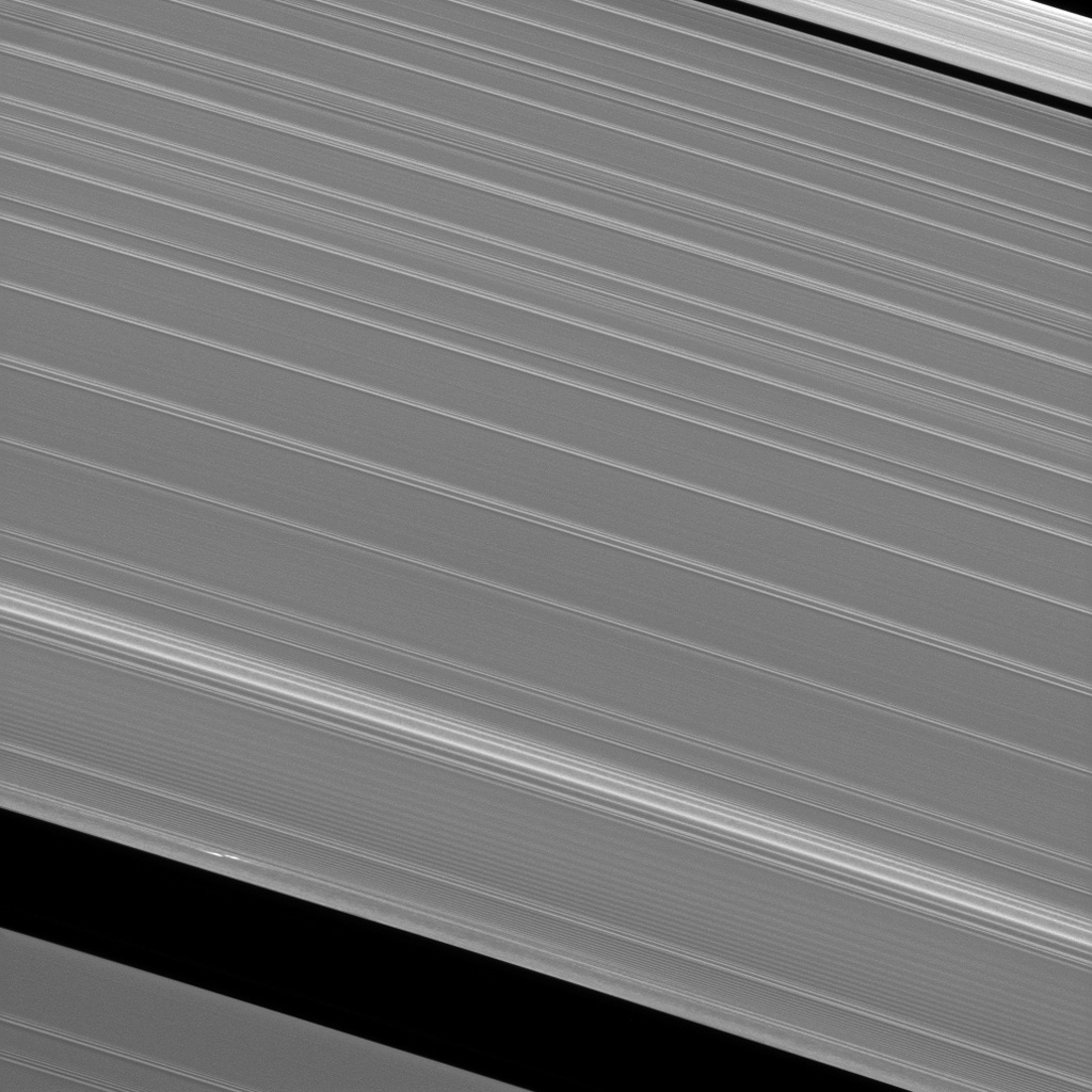 Cassini scientists continue their quest to understand the origin and evolution of the newly discovered features observed in Saturn's A ring which have become known as 'propellers' as shown in this image from NASA's Cassini spacecraft.