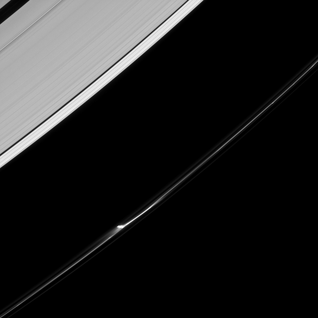 A single jet feature appears to leap from the F ring of Saturn in this image from NASA's Cassini spacecraft. A closer inspection suggests that in reality there are a few smaller jets that make up this feature.