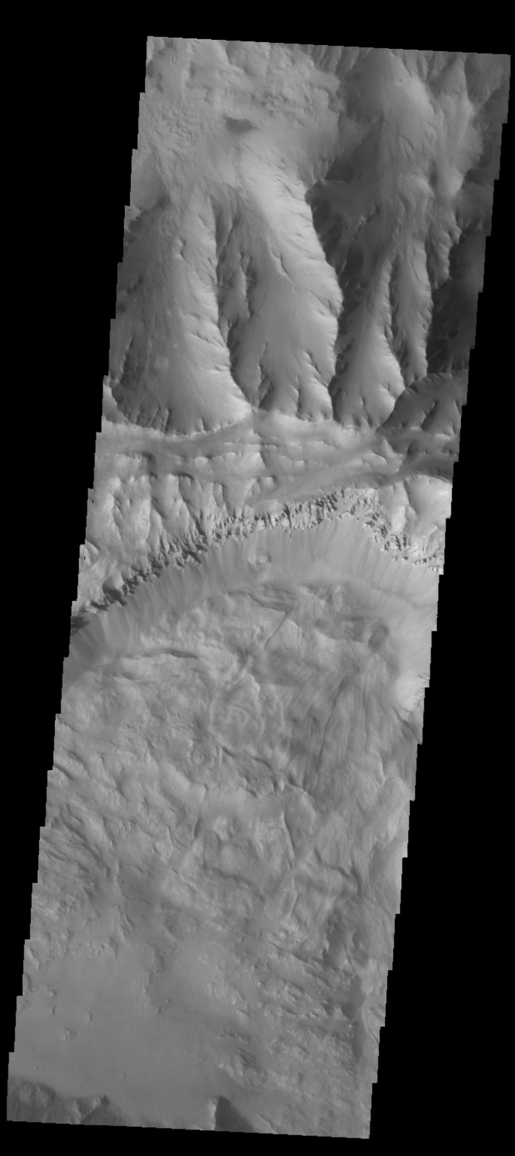A large landslide deposit fills the bottom part of this image of Coprates Chasma captured by NASA's 2001 Mars Odyssey spacecraft.