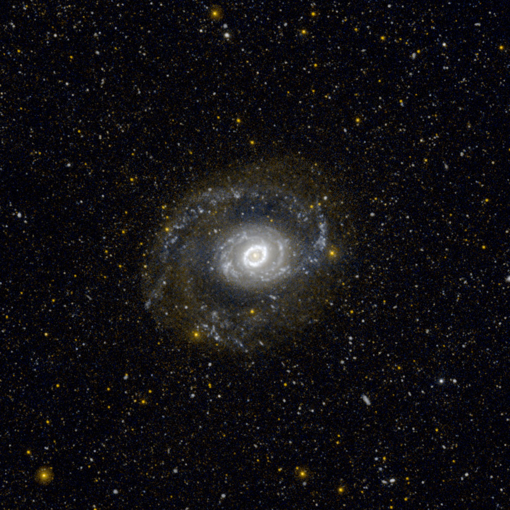 This image from NASA's Galaxy Evolution Explorer (GALEX) shows Messier 94, also known as NGC 4736, in ultraviolet light. It is located 17 million light-years away in the constellation Canes Venatici.