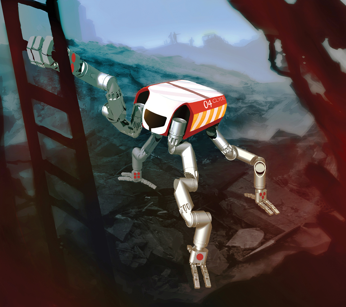 This artist's concept depicts RoboSimian, a disaster-relief and -mitigation robot, grasping the rung of a ladder. RoboSimian is an ape-like robot designed and built at NASA's Jet Propulsion Laboratory, Pasadena, Calif.