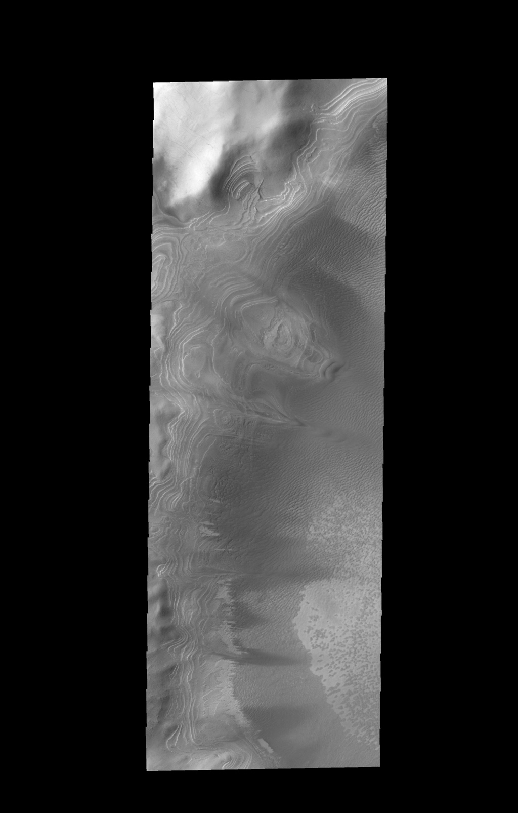 Numerous layers within Burroughs Crater are visible in this image captured by NASA's 2001 Mars Odyssey spacecraft.