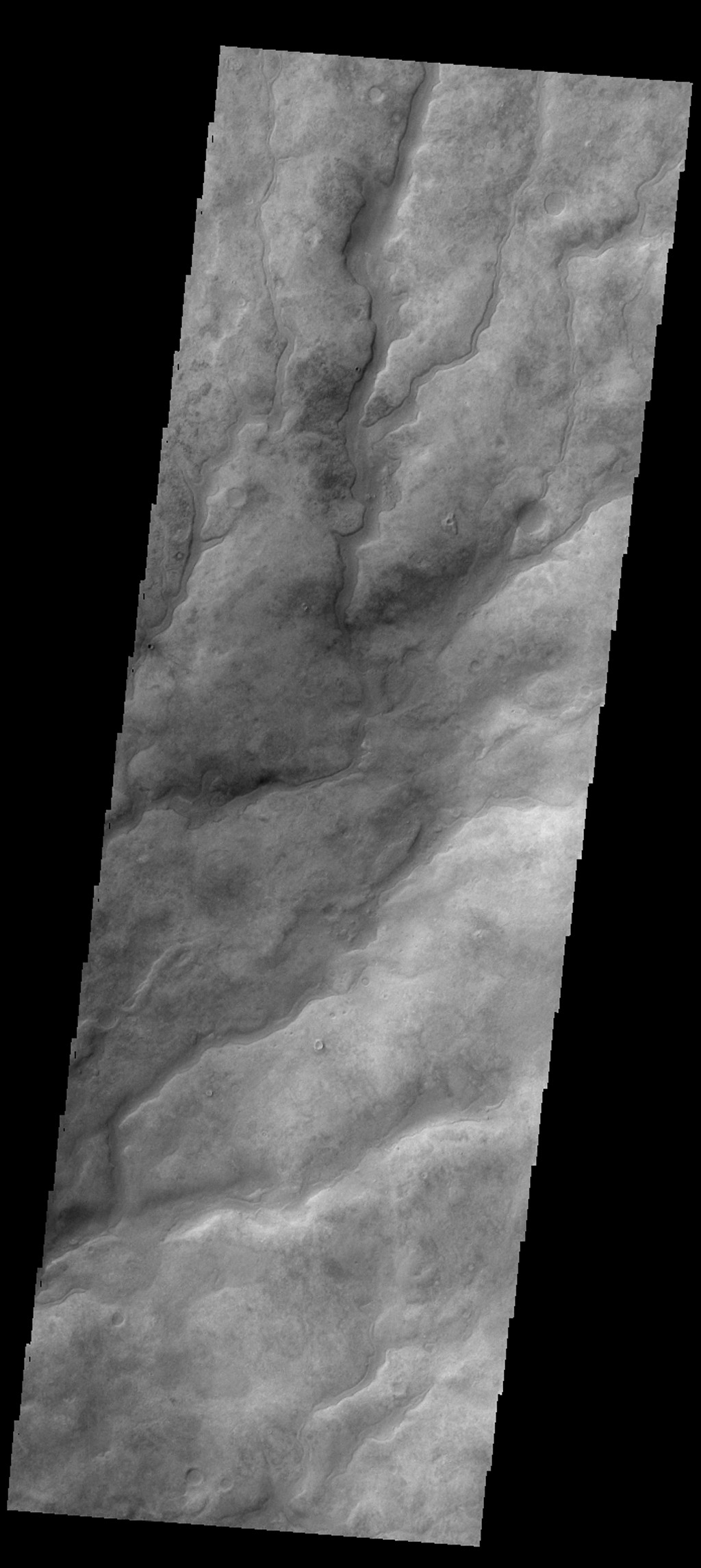 The numerous valleys in this image captured by NASA's 2001 Mars Odyssey spacecra are dissecting part of Aonia Terra.