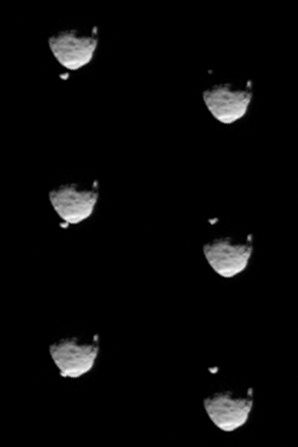 These six images from NASA's Mars rover Curiosity show the two moons of Mars moments before (left three) and after (right three) the larger moon, Phobos, occulted Deimos on Aug. 1, 2013.