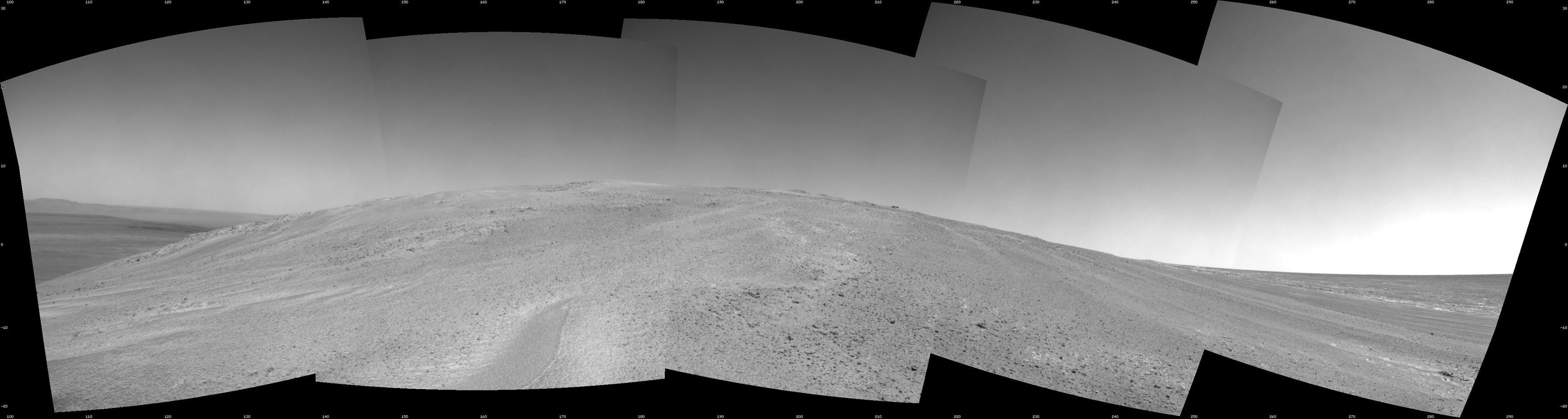 NASA's Mars Exploration Rover Opportunity captured this southward uphill view after beginning to ascend the northwestern slope of 'Solander Point' on the western rim of Endeavour Crater.