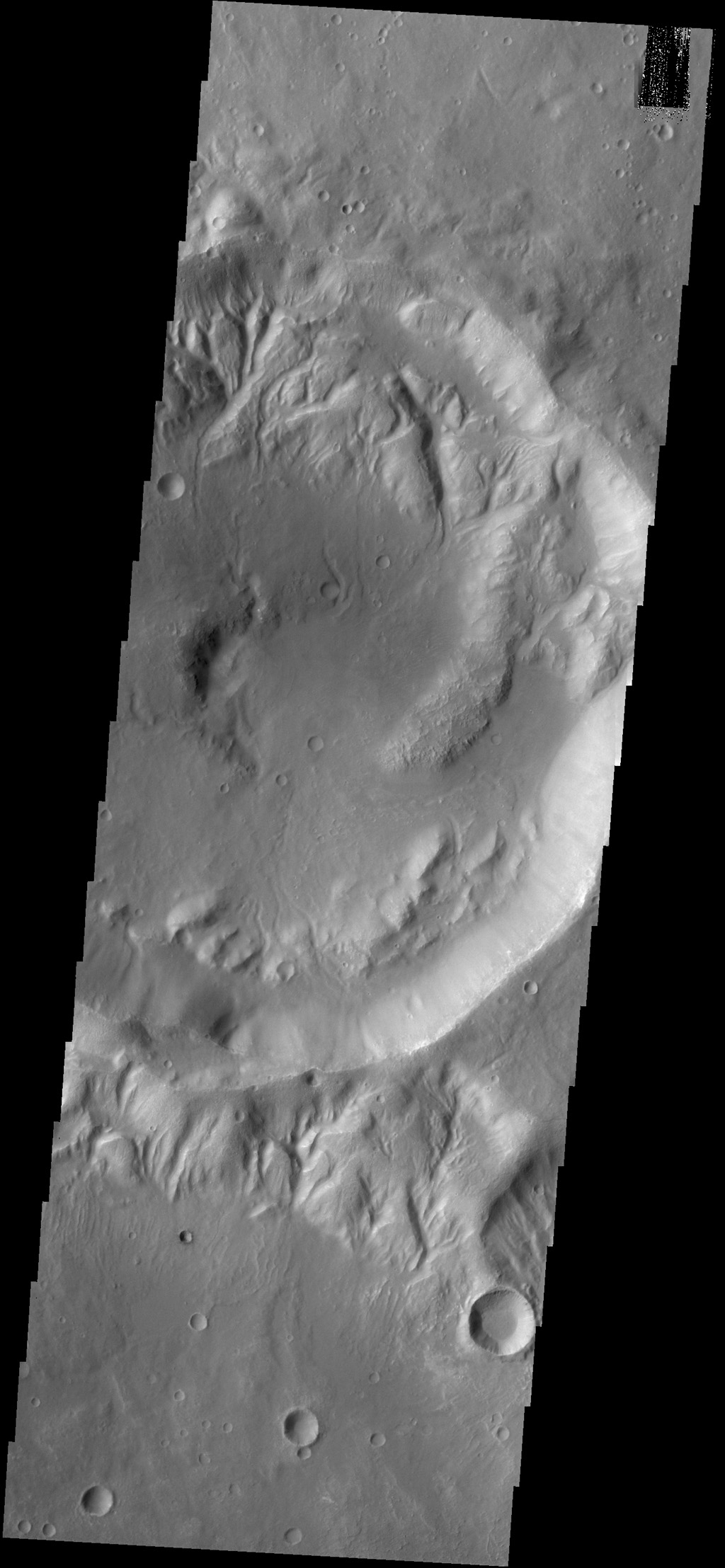 Multiple channels dissect the rim of this unnamed crater in Noachis Terra as seen by NASA's 2001 Mars Odyssey spacecraft.