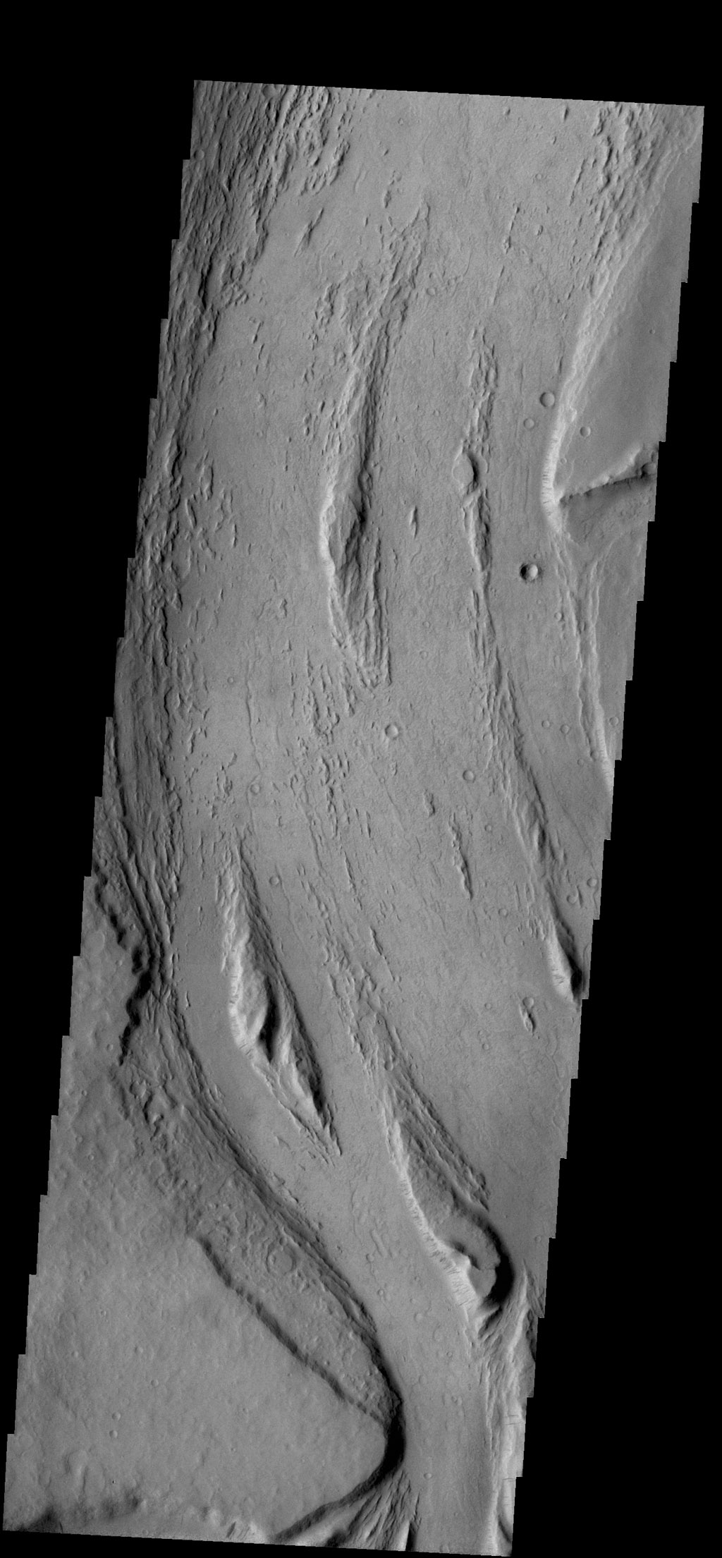This VIS image captured by NASA's 2001 Mars Odyssey spacecraft shows streamlined islands are located in the channel of Mangala Valles, a portion of which is shown in the image.