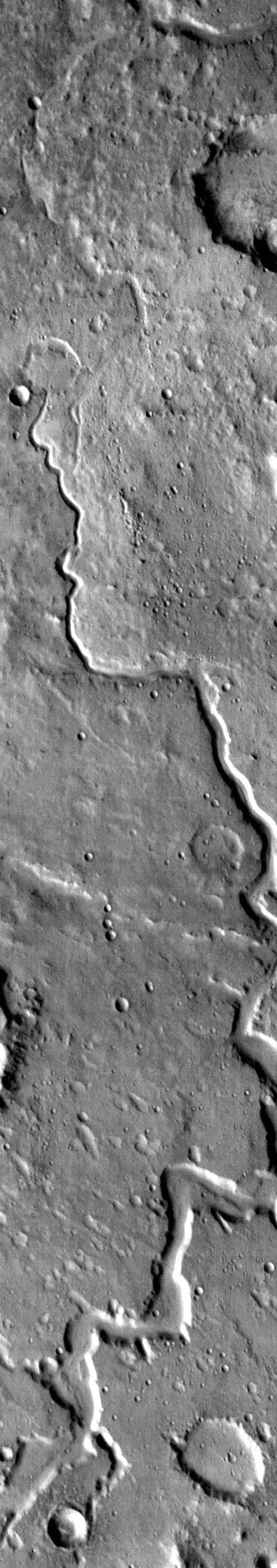 This daytime IR image shows part of Nanedi Vallis as seen by NASA's 2001 Mars Odyssey spacecraft.
