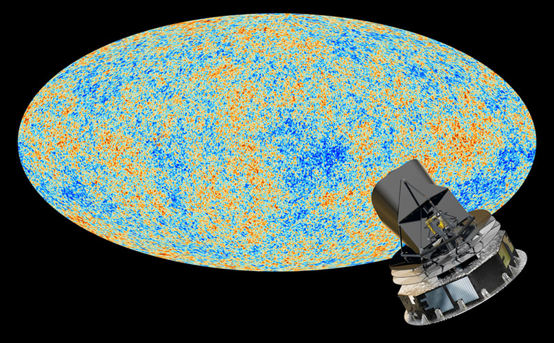 The oldest light in the universe, called the cosmic microwave background, as observed by the Planck space telescope is shown in the oval sky map. An artist's concept of Planck is next to the map.
