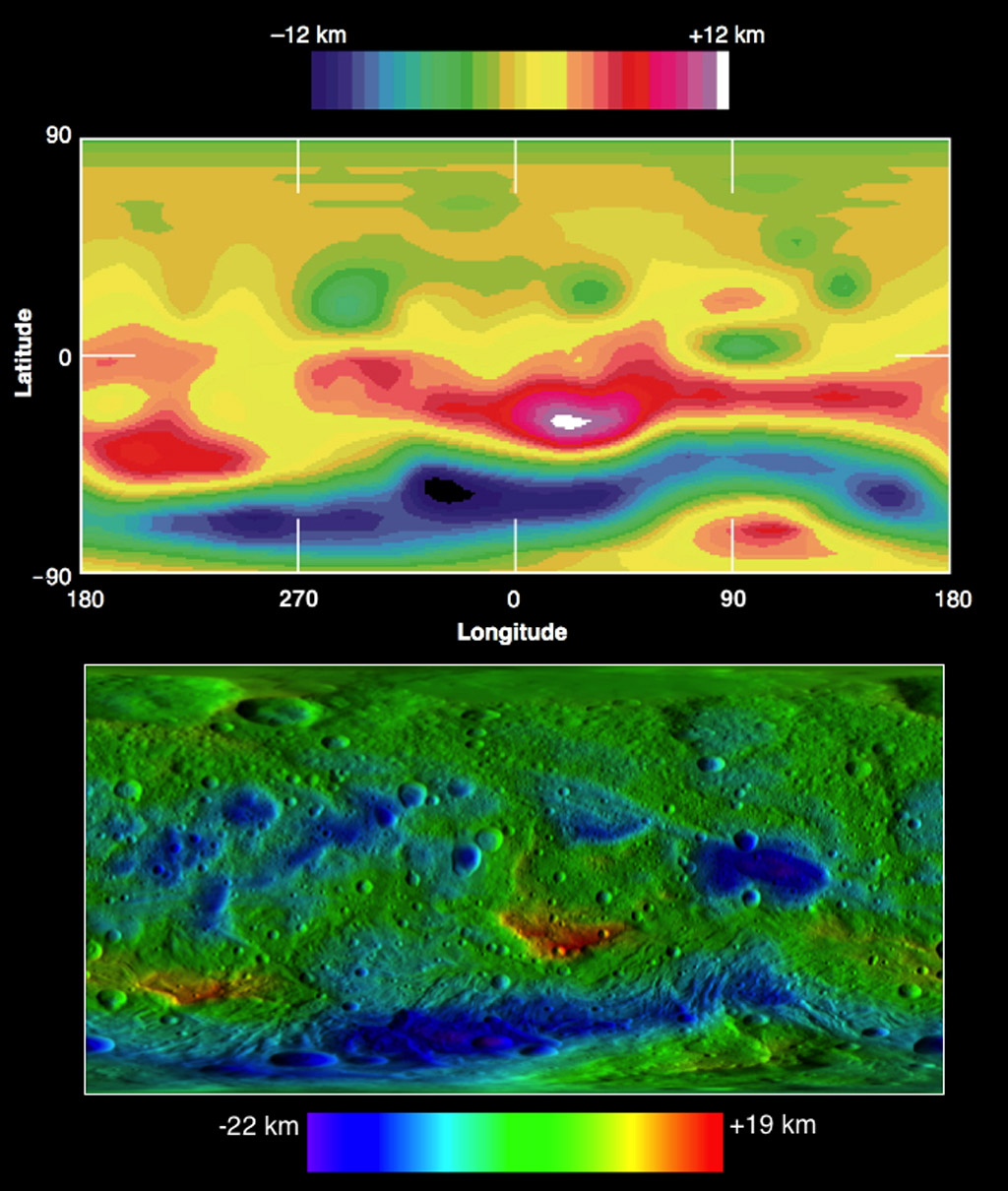 These two images compare topographic maps of the giant asteroid Vesta as discerned by NASA's Hubble Space Telescope (top) and as seen by NASA's Dawn spacecraft (bottom). Hubble has been in an orbit around Earth, while Dawn orbited Vesta from 2011 to 2012.