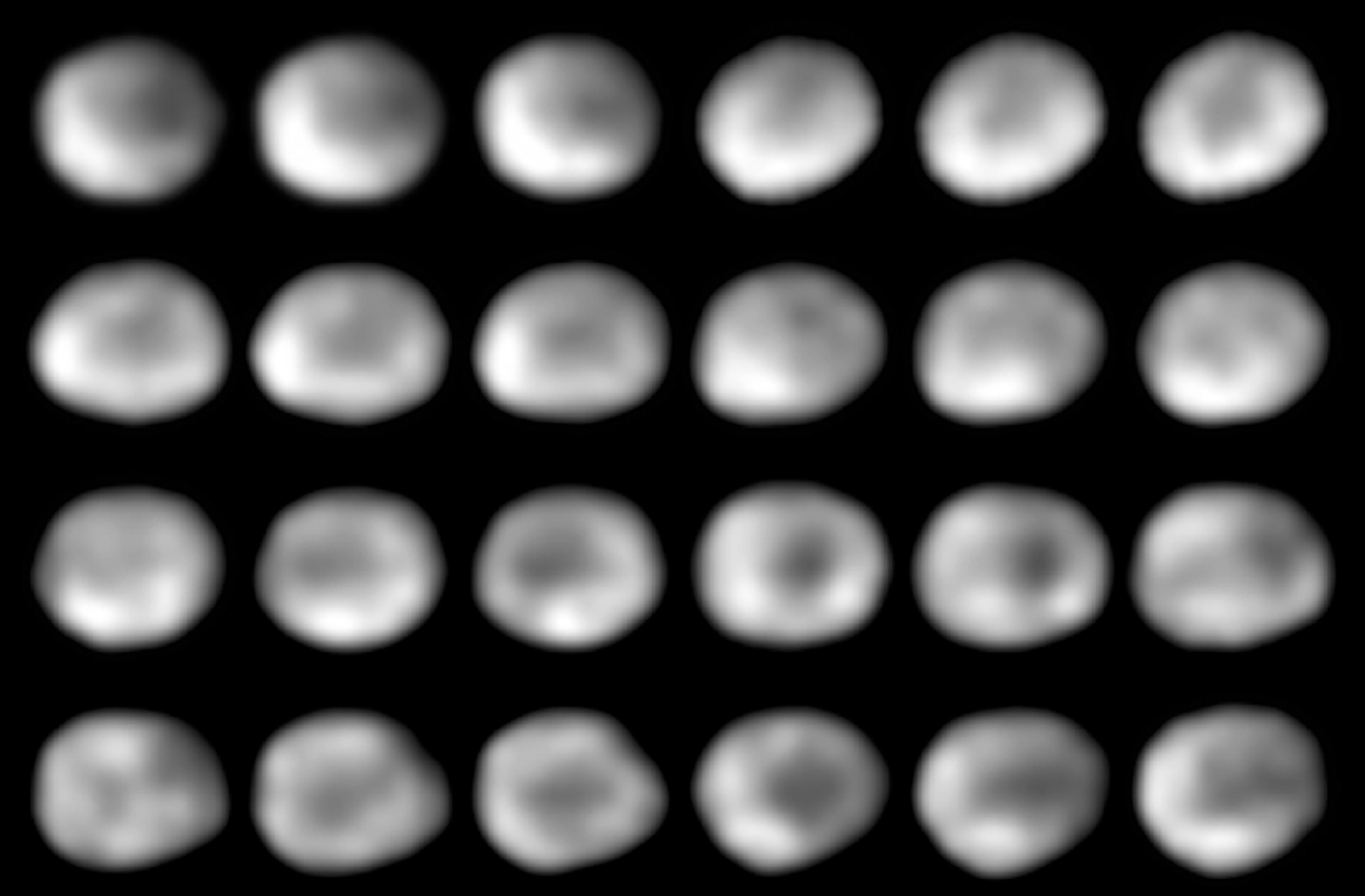 This is a NASA Hubble Space Telescope series of 24 images showing the full 5.34-hour rotation of the 325-mile diameter (525 kilometer) asteroid Vesta.