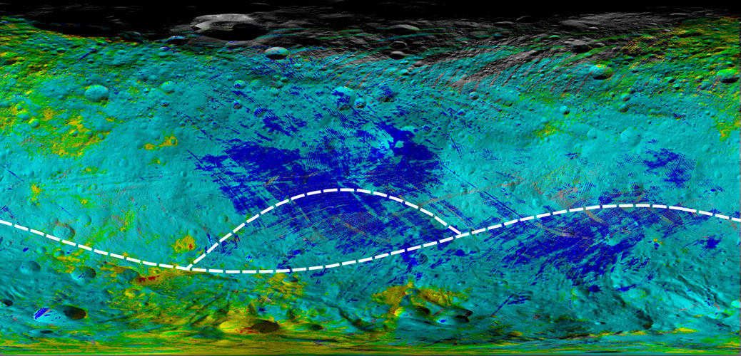This colorized map from NASA's Dawn mission shows the types of rocks and minerals distributed around the surface of the giant asteroid Vesta.