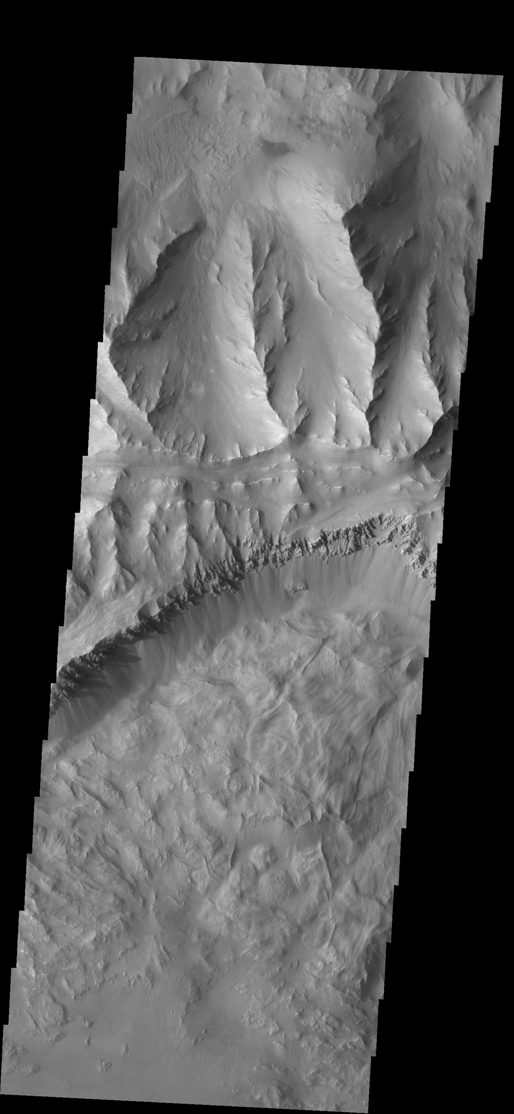 This image from NASA's 2001 Mars Odyssey spacecraft shows part of Coprates Chasma, which is just one part of the extensive Valles Marineris canyon system.
