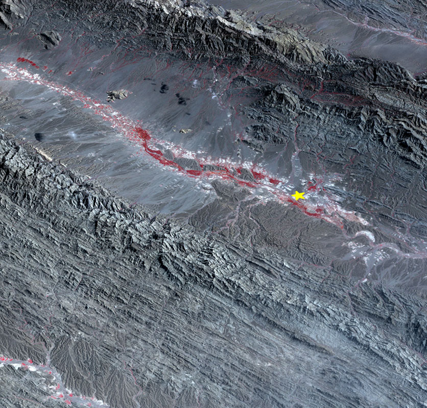 This image, acquired by NASA's Terra spacecraft, shows the epicenter of a magnitude 7.7 earthquake which struck south-central Pakistan on Sept. 24, 2013, in Pakistan's Makran fold belt.