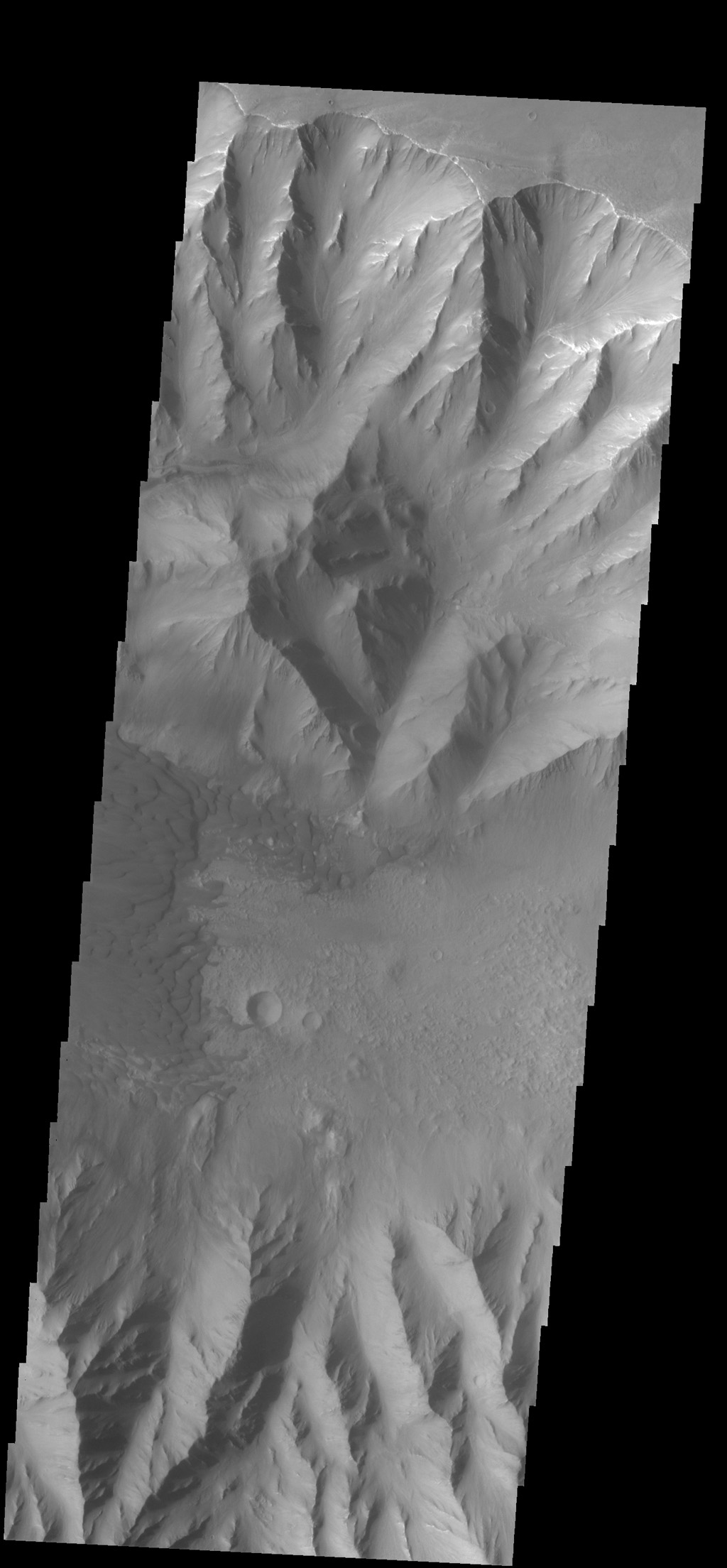 This image captured by NASA's 2001 Mars Odyssey spacecraft shows part of the floor of Coprates Chasma, including a large sand sheet and smaller dunes.