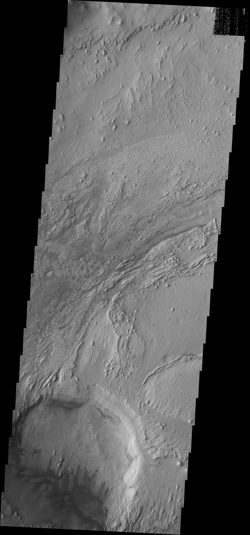 Dark dunes are located on the floor of an unnamed crater inside Firsoff Crater in this image captured by NASA's 2001 Mars Odyssey spacecraft.