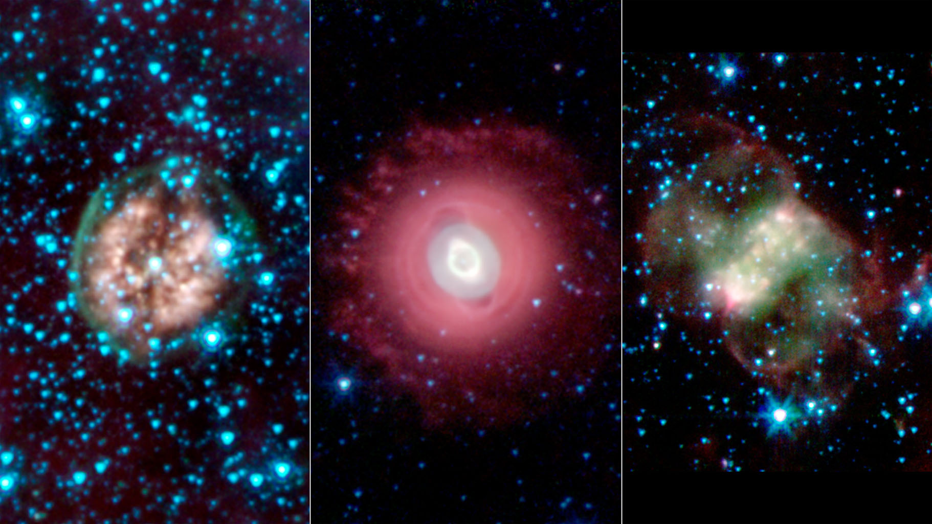 This trio of ghostly images from NASA's Spitzer Space Telescope shows the disembodied remains of dying stars called planetary nebulas. Planetary nebulas are a late stage in a sun-like star's life.