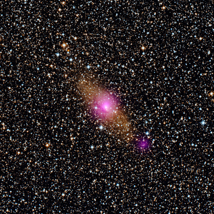 Magenta spots in this image from NASA's NuSTAR show two black holes in the Circinus galaxy, located 13 million light-years from Earth in the Circinus constellation.