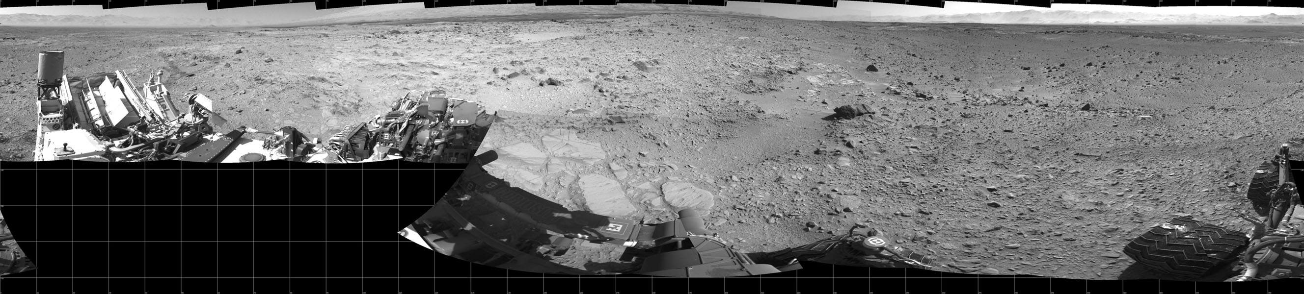 The rock-studded terrain NASA's Mars rover Curiosity has traversed since October 2013 appears to have accelerated the pace of wear and tear on the rover's wheels. Future drives may be charted to cross smoother ground where available.