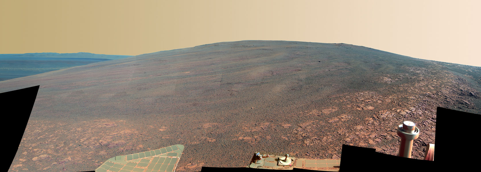 This scene shows the 'Murray Ridge' portion of the western rim of Endeavour Crater on Mars, as seen by NASA's Opportunity rover. It is presented in false color to make some differences between materials easier to see.