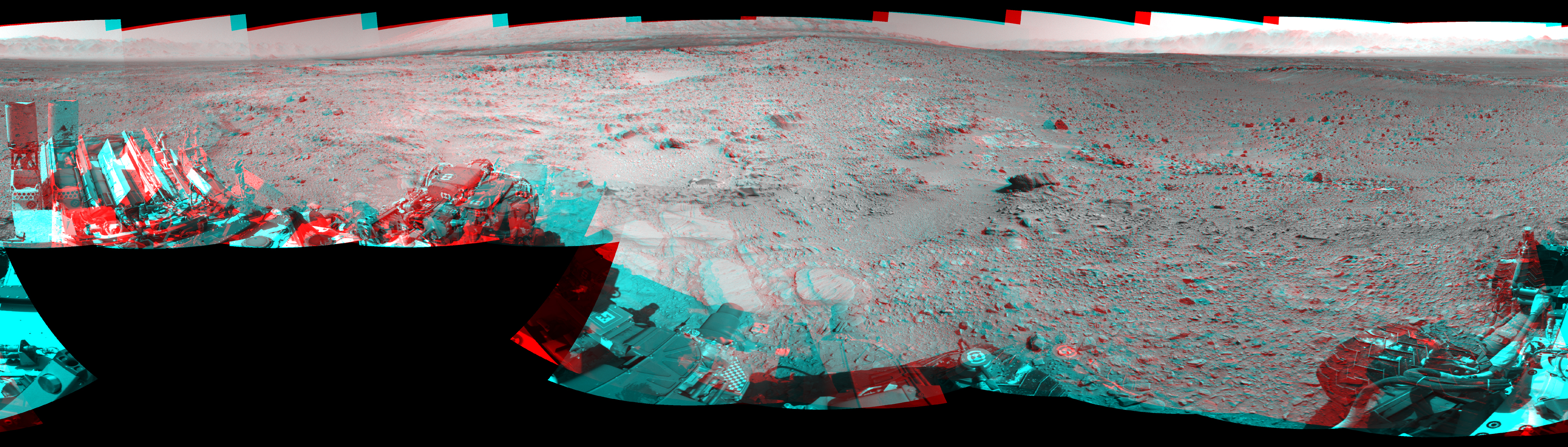 NASA's Mars rover Curiosity captured this 3-D view of the rock-studded terrain Curiosity has traversed since October 2013, accelerating the pace of wear and tear on the rover's wheels.