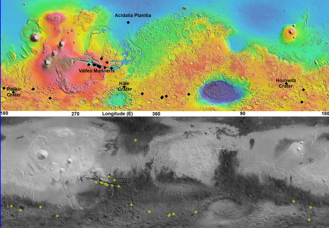 Space Images | Maps of Recurrent Slope Linea Markings on Mars
