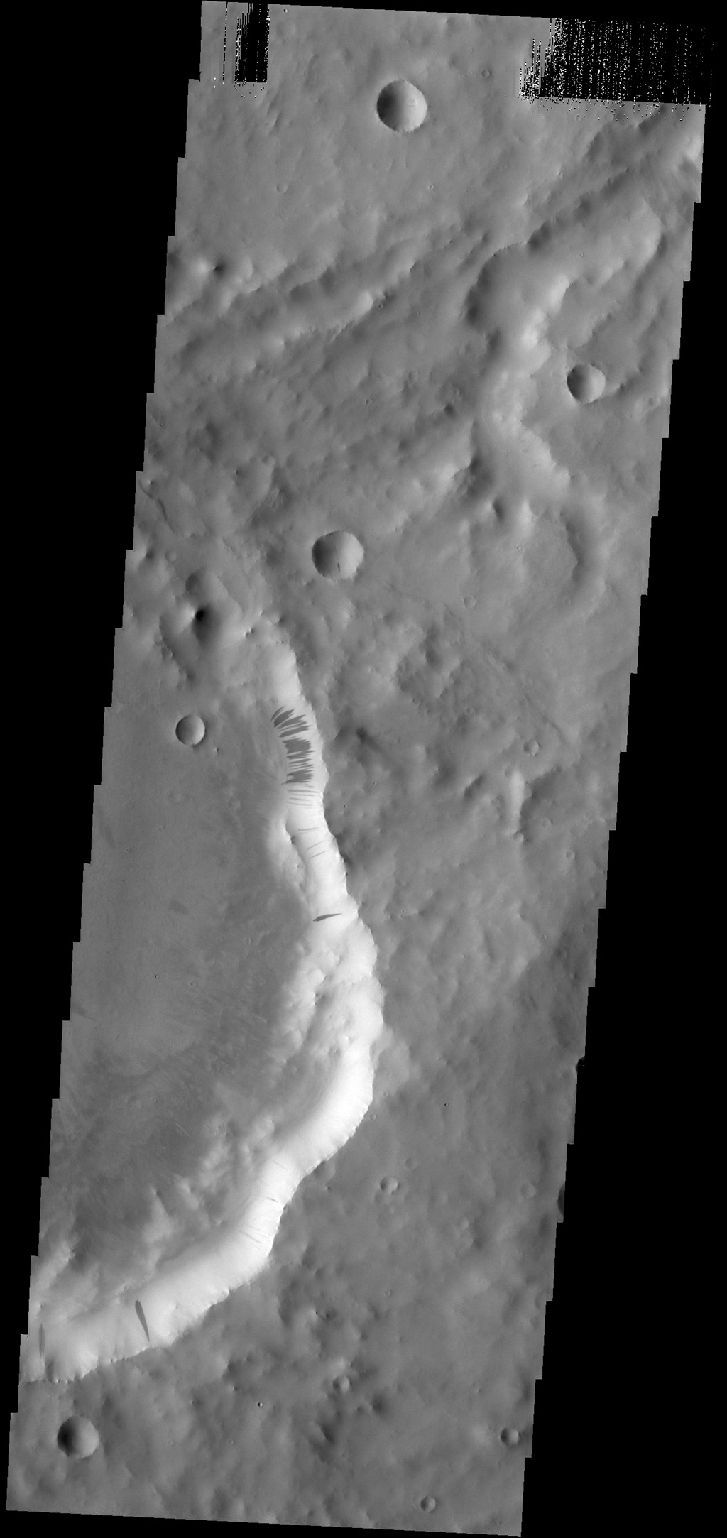 Many dark slope streaks mark the rim of this unnamed crater in Terra Sabaea in this image from NASA's 2001 Mars Odyssey spacecraft.