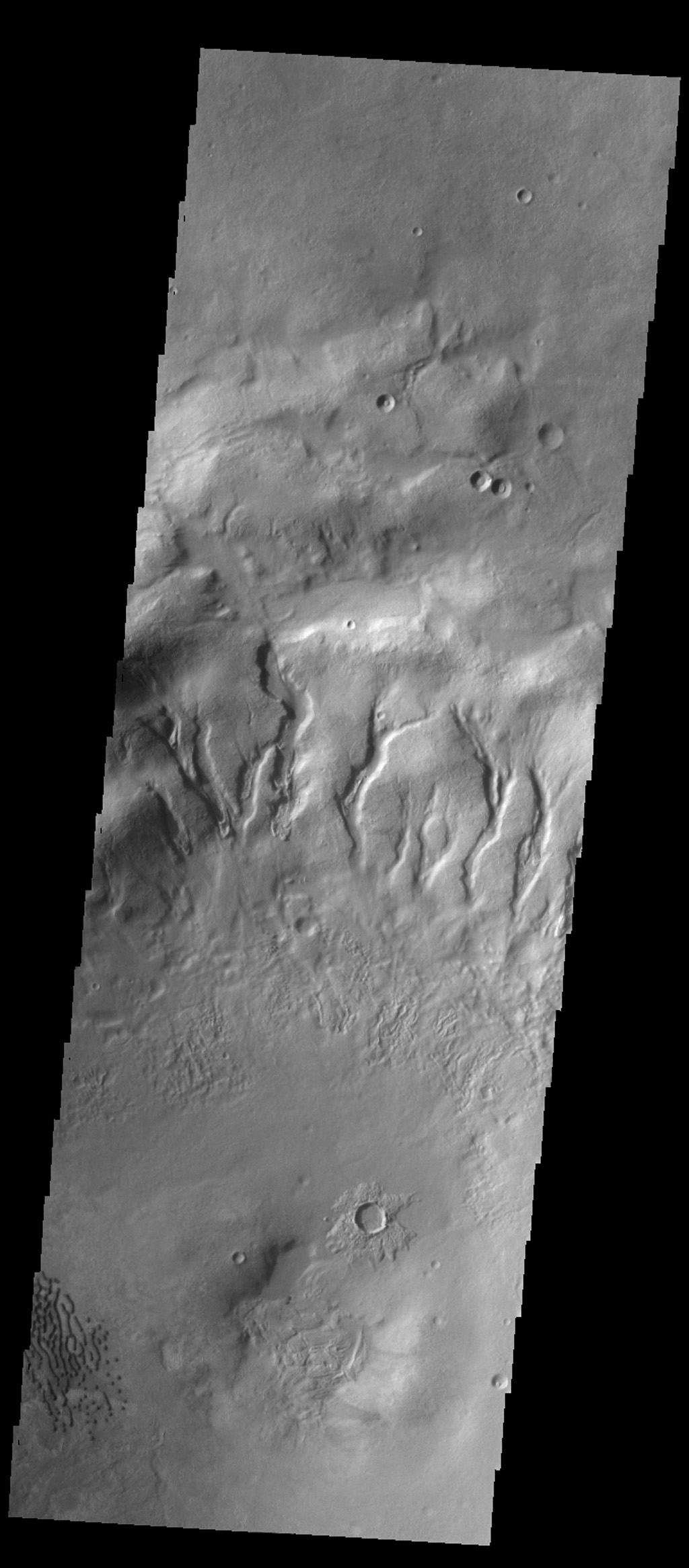 Many gullies are located on the northern rim of this unnamed crater in Noachis Terra as seen by NASA's 2001 Mars Odyssey spacecraft. Small dunes are located on the floor of the crater (lower left side of image).
