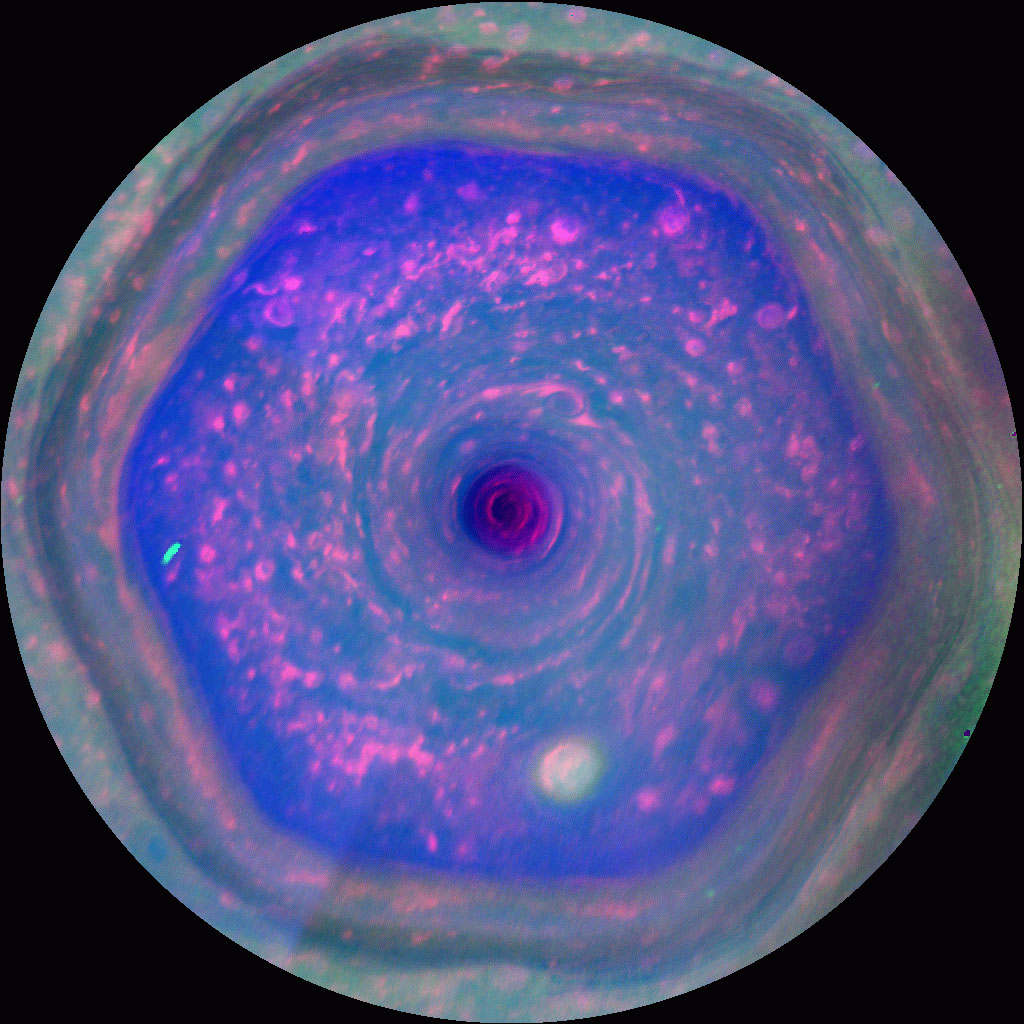 "This colorful view from NASA's Cassini mission, known as ""the hexagon,"" is the highest-resolution view of the unique six-sided jet stream at Saturn's north pole."